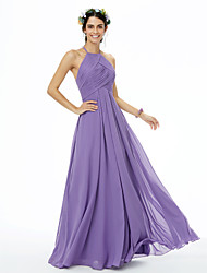 cheap -A-Line Jewel Neck Floor Length Chiffon Bridesmaid Dress with Pleats Criss Cross by LAN TING BRIDE®
