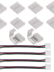 abordables -10pcs connecteur à bande 4 broches pour 5050 rgb led strip lights et 4pcs led 5050 rgb strip light connector 4 conducteurs 10 mm large
