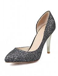 cheap -Women's Heels Leatherette PU Summer Fall Walking Stiletto Heel White Black Silver Purple 3in-3 3/4in