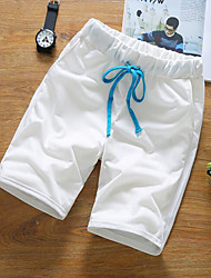 Men's High Waist Micro-elastic Shorts Pants,Simple Relaxed Pure Color Solid