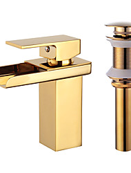 cheap -Bathroom Sink Faucet - Waterfall Gold Centerset One Hole