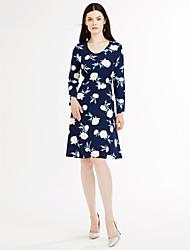 Women's Plus Size Party Vintage Sheath Dress,Floral Round Neck Knee-length Long Sleeve Cotton Polyester Blue White Black Summer