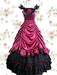 preiswerte -Viktorianisch Gothic Mittelalterlich Kostüm Damen Kleid Party Kostüme Maskerade Schwarz Rot Vintage Cosplay Modal Bodenlänge