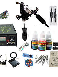 billige -Tattoo Machine Starter Sæt - 1 pcs Tattoo Maskiner med 1 x 5 ml tatoveringsfarver LCD strømforsyning No case 1 x damascus stål tattoo maskine til foring og skygge