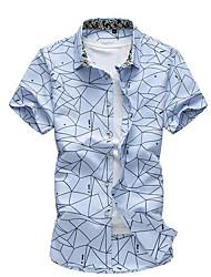 Недорогие -Для мужчин На каждый день Лето Рубашка Воротник-стойка,Простое Однотонный С принтом С короткими рукавами,Хлопок,Тонкая