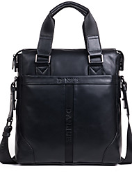 Men Bags All Seasons Cowhide Shoulder Bag Smooth for Business Casual Formal School Date Work Office & Career Black Dark Brown