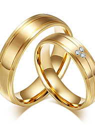 cheap -Couple's AAA Cubic Zirconia Cubic Zirconia 18K Gold Ring Band Ring - Round Vintage Fashion Simple Style Gold Ring For Wedding Party