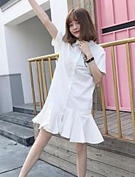 Feminino Solto Vestido,Casual Vintage Sólido Colarinho de Camisa Altura dos Joelhos Manga Curta Algodão Verão Cintura Média Micro-Elástica