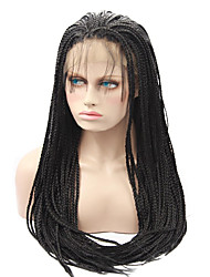 cheap -Lace Frotal Braid Wig Synthetic Braiding Wig Black Color for Black Woman