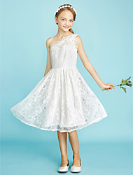 cheap -A-Line One Shoulder Knee Length Lace Junior Bridesmaid Dress with Pleats by LAN TING BRIDE®