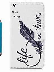 billige -Til Apple iPhone 7plus 7 Case Cover Kort Holder Tegnebog med Stand Flip Pattern Full Body Etui med stylus Feathe Hard pu læder til 6s plus