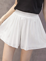 Women's High Rise strenchy Loose Shorts Pants,Cute Simple Loose Pure Color Chiffon Solid Striped