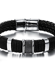 cheap -Men's Leather Bracelet - Stainless Steel, Leather Vintage, Punk, Rock Bracelet Black For Birthday / Dailywear / Sports Outdoor