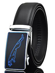 cheap -Men's Casual Jaguar Print Black Genuine Leather Alloy Automatic Buckle Waist Belt Work/Casual/Party All Seasons
