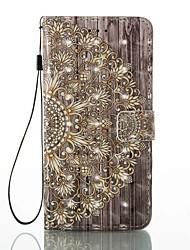 Недорогие -Case for apple iphone 7 плюс 7 держатель карты с кошельком с подставкой флип-патч корпус полный корпус корпус 3d цветок твердая кожа pu