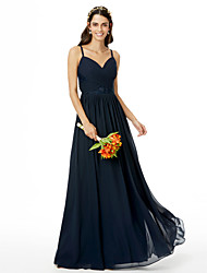 cheap -A-Line Spaghetti Straps Floor Length Chiffon Bridesmaid Dress with Lace Pleats Criss Cross by LAN TING BRIDE®