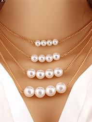 Per donna Collane con ciondolo Collane a catena Perle finte Rotondo Perla Circolare Originale Pendente Di tendenza stile della Boemia