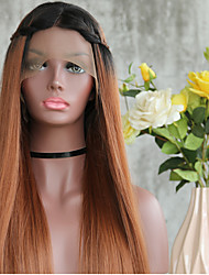 cheap -HOT!! Long Brown Silky Straight Synthetic Lace Front For Black Women High Temperature Natural Artificial Hair Lace Front Wig