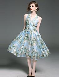 abordables -Mujer Boho / Sofisticado Línea A / Vaina / Corte Swing Vestido - Elegante / Estampado, Floral Midi Escote en Pico