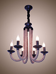cheap -Hemp Rope Chandelier Retro LOFT Creative Personality American Living Room Cafe Restaurant Lighting Industrial Wind