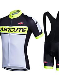 cheap -Fastcute Cycling Jersey with Bib Shorts Men's Bike Bib Shorts Jacket Shorts Shirt Sweatshirt Jersey Top Clothing Suits Polyester Silicon
