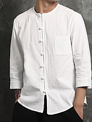 Men's Daily Casual Chinoiserie Spring Fall Shirt,Solid Round Neck Long Sleeves Cotton Linen