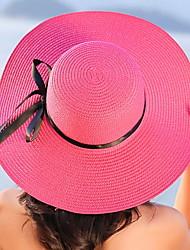 Недорогие -Для женщин На каждый день Соломенная шляпа,Лето Соломка Однотонный Чистый цвет В полоску Бант