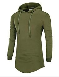 Masculino Camiseta Casual Simples Primavera Verão,Sólido Estampa Colorida Algodão Ondulado Manga Longa Opaca Fina