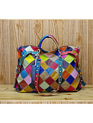 cheap -Women's Bags Cowhide Tote Rivet Plaid for Event/Party Rainbow