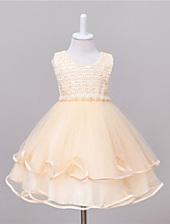 Princess Knee Length Flower Girl Dress - Polyester Taffeta Jewel Neck by Bflower
