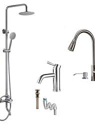 cheap -Contemporary Art Deco/Retro Modern Shower System Rain Shower Ceramic Valve Two Holes Brushed , Shower Faucet
