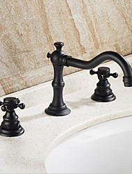 cheap -Traditional/Vintage Vessel Widespread Three Holes Oil-rubbed Bronze , Bathroom Sink Faucet