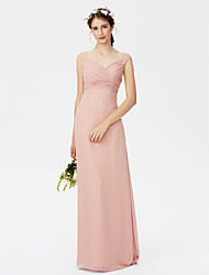 Sheath / Column Straps Floor Length Chiffon Bridesmaid Dress with Lace Criss Cross by LAN TING BRIDE®