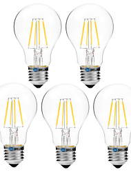 abordables -BRELONG® 5pcs 4W 300 lm Ampoules à Filament LED A60(A19) 4 diodes électroluminescentes COB Intensité Réglable Blanc Chaud Blanc AC 200-240