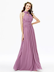 A-Line High Neck Floor Length Chiffon Bridesmaid Dress with Buttons Sash / Ribbon Criss Cross Ruching Pleats by LAN TING BRIDE®