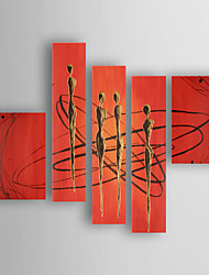 baratos -Pintados à mão Abstrato Horizontal,Moderno/Contemporâneo Nova chegada 5 Painéis Tela Pintura a Óleo For Decoração para casa