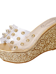 Women's Slippers & Flip-Flops PU Summer Walking Beading Wedge Heel Gold Silver 2in-2 3/4in