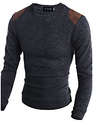 cheap -Men's Weekend Wool Slim Long Pullover - Animal Print Round Neck