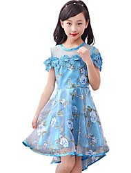 cheap -Girl's Floral Dress,Cotton Spring Summer All Seasons Short Sleeve Floral Lace Blue Purple Yellow