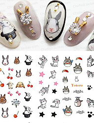 cheap -11Designs/pcs Fashion Lovely Style Design Nail Art 3D Sticker Funny Cartoon Expression Cute Cat Rabbit SpongeBob DIY Beauty Decoration E556-566