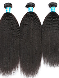cheap -Peruvian kinky straight Human Hair Weaves 3 Pieces 0.3