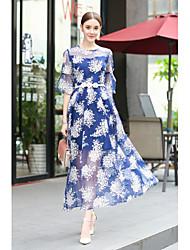 abordables -Mujer Línea A Vestido - Malla Estampado Maxi