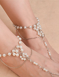 cheap -Flower Imitation Pearl Barefoot Sandals - Women's Gold / Silver Fashion Anklet For Daily / Casual