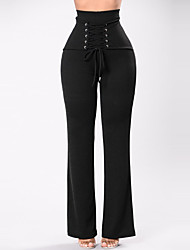 cheap -Women's High Waist strenchy Wide Leg Pants,Casual Street chic Solid Polyester Spring Summer