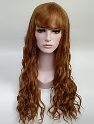 cheap -women s fashionable brown color long length capless synthetic wigs