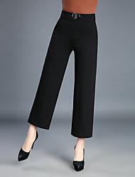 abordables -Mujer Tallas Grandes Tiro Alto Algodón Corte Recto Chinos Pantalones - Un Color Lentejuelas