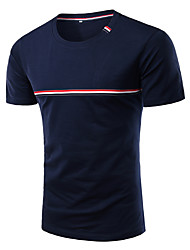cheap -Men's Daily Going out Plus Size Casual Spring T-shirt,Striped Round Neck Short Sleeves Polester/Cotton Blend