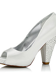 Women's Heels Comfort Silk Spring Fall Wedding Party & Evening Dress Comfort Sparkling Glitter Chunky Heel Ivory 4in-4 3/4in