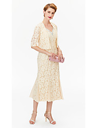 Sheath / Column V-neck Tea Length Chiffon Lace Mother of the Bride Dress with Beading Crystal Detailing by LAN TING BRIDE®