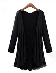 cheap -Women's Daily Plus Size Casual Cardigan,Solid Round Neck Long Sleeves Cotton Fall Thin Stretchy